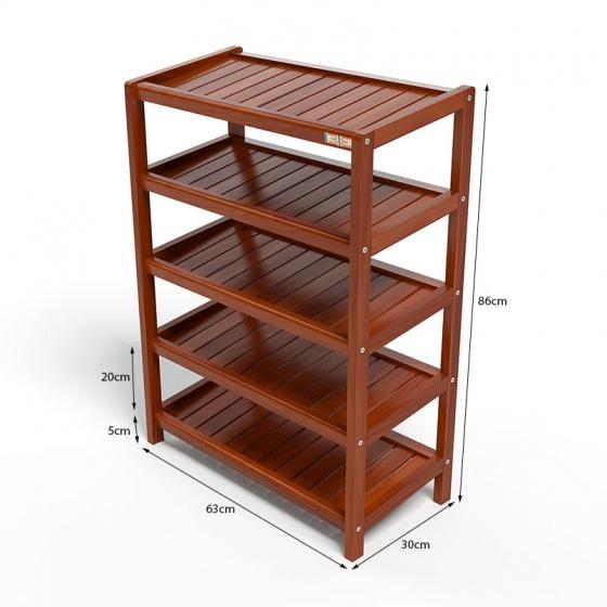 Kệ dép 5 tầng IB563 gỗ cao su 63x30x86 cm màu cánh gián