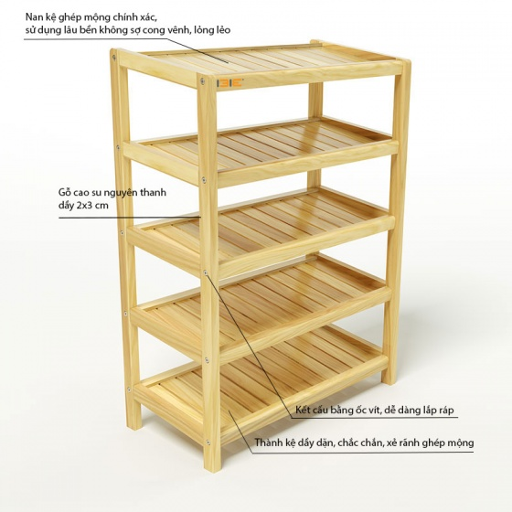 Kệ dép 5 tầng IB563 gỗ cao su 63x30x86 cm màu tự nhiên
