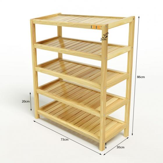Kệ dép 5 tầng IB573 gỗ cao su 73x30x86 cm màu tự nhiên