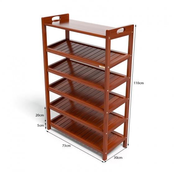Kệ dép 6 tầng ván IV673 gỗ cao su 73x30x110 cm màu cánh gián