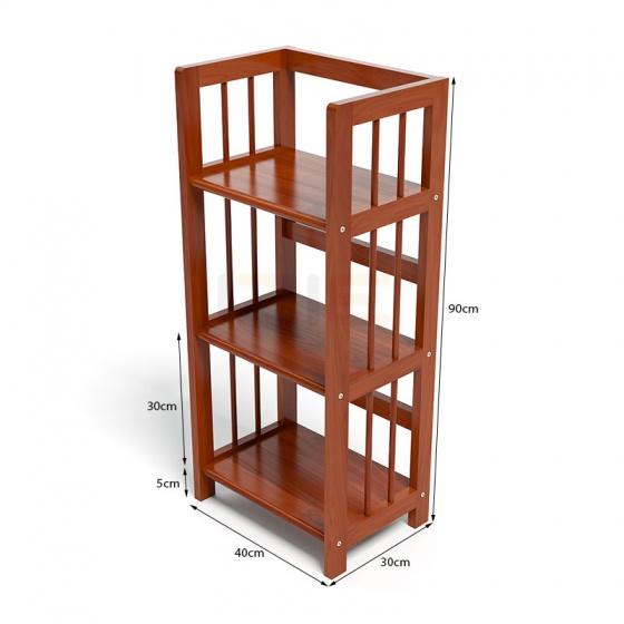 Kệ sách 3 tầng HB340 gỗ cao su màu cánh gián (40x30x90cm)