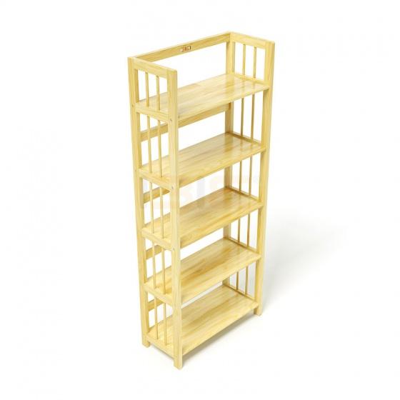 Kệ sách 5 tầng HB563 gỗ cao su màu tự nhiên (63x30x150cm) - IBIE