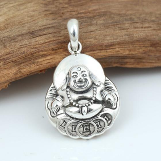 Mặt dây chuyền bạc nam Phật Di Lạc