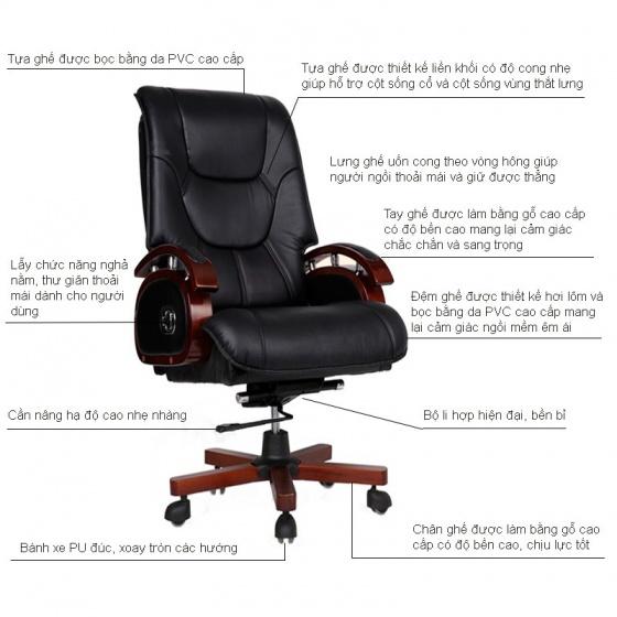 Ghế da Giám đốc IB316 chân gỗ cao cấp màu đen - IBIE