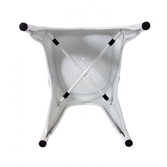 Ghế tựa Tolix lưng cao màu trắng - IBIE