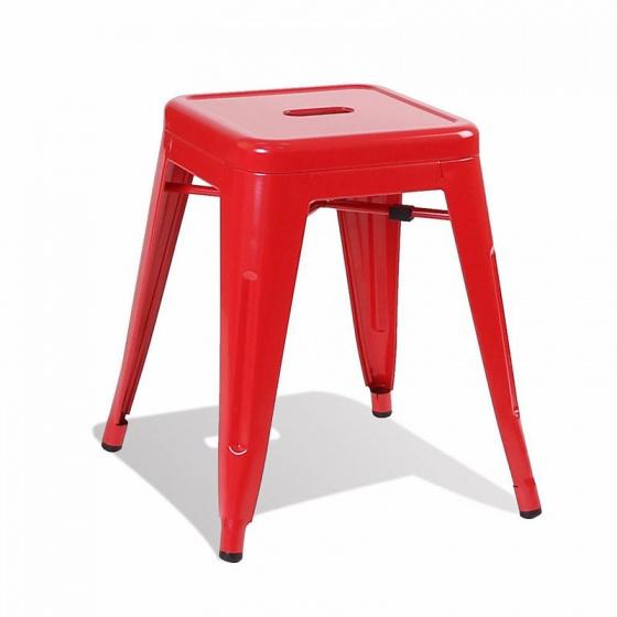 Ghế đôn Tolix chân thấp 45cm màu đỏ - IBIE