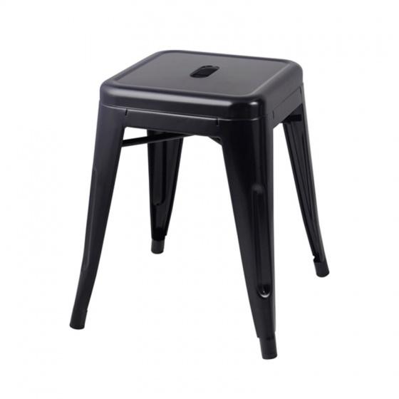 Ghế đôn Tolix chân thấp 45cm màu đen - IBIE