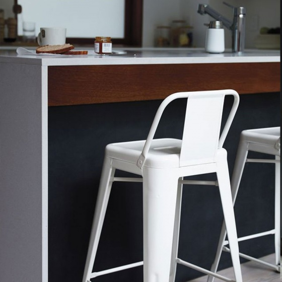 Ghế bar Tolix lưng thấp màu trắng - IBIE