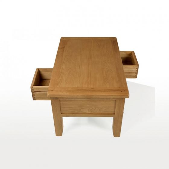 Bàn trà 2 ngăn kéo IBIE Rustic gỗ sồi 110cm