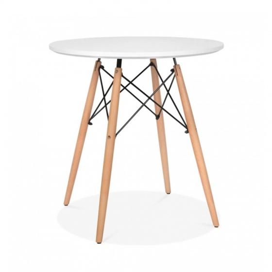 Bàn tròn Eiffel chân gỗ 80cm màu trắng - IBIE