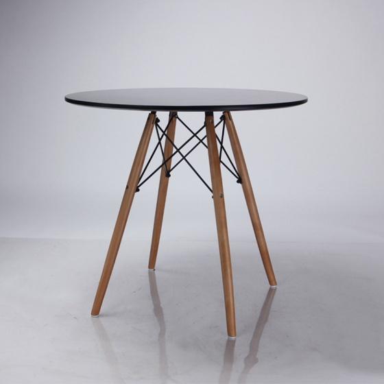 Bàn tròn Eiffel chân gỗ 80cm màu đen - IBIE