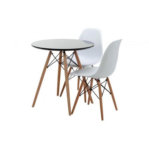 Bộ bàn tròn Eiffel đen 2 ghế Eames - IBIE