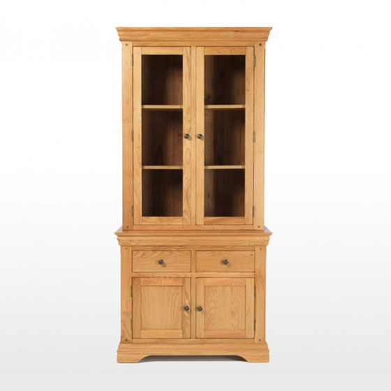 Tủ chén cao IBIE 2 cánh kính Victoria gỗ sồi