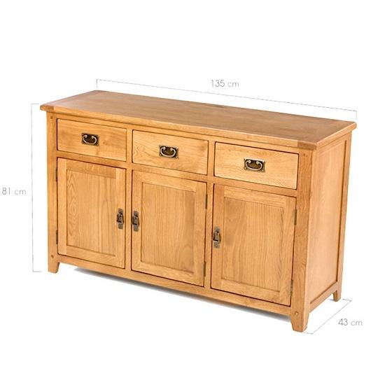 Tủ trữ đồ 3 cánh Rustic gỗ sồi - IBIE