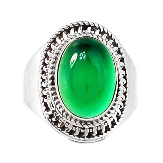 Nhẫn đá Onyx xanh bạc 925 cao cấp