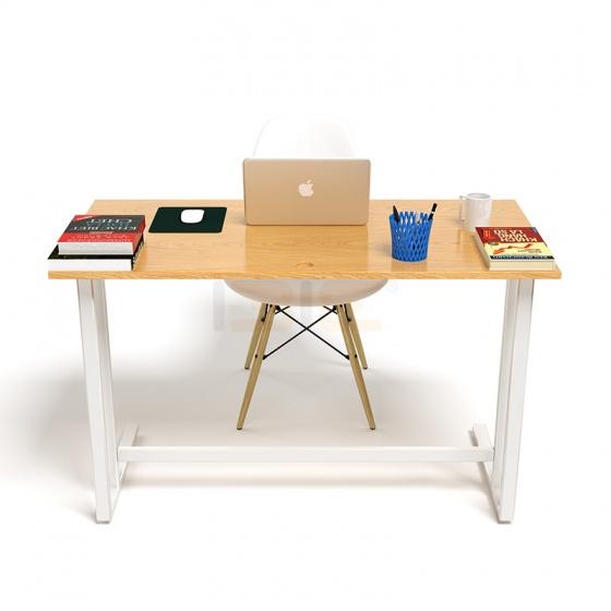 Bộ bàn Oak-U vân gỗ sồi chân trắng và ghế Eames chân gỗ trắng - IBIE