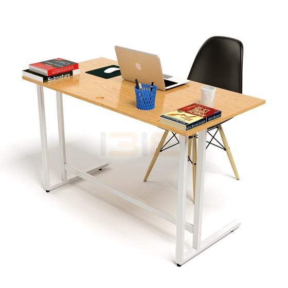 Bộ bàn Oak-U vân gỗ sồi chân trắng và ghế Eames chân gỗ đen - IBIE