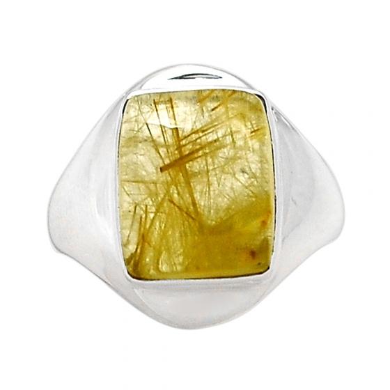 Nhẫn thạch anh tóc vàng size 7.5 bạc 925 cao cấp Hadosa