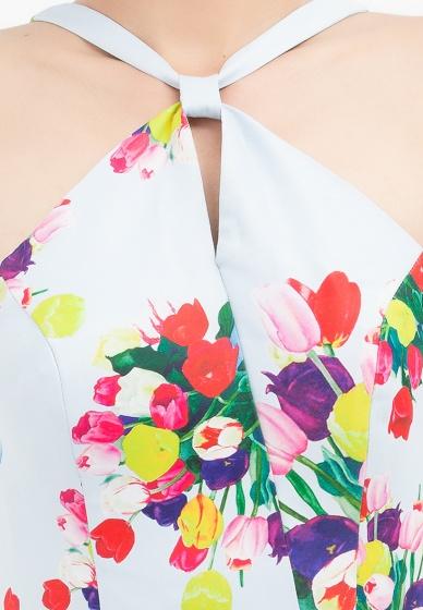Đầm dây xòe Amun xanh da trời in hoa DX155-Hoa