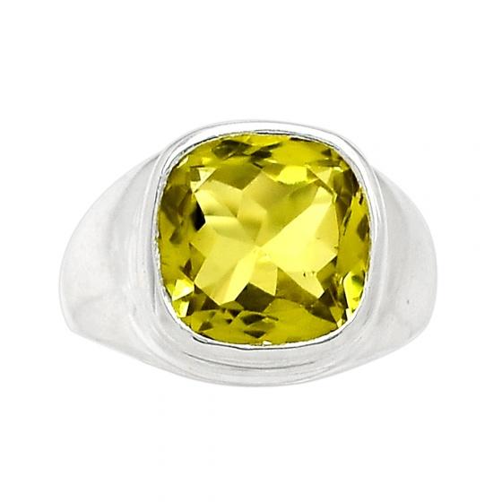 Nhẫn đá Topaz vàng chanh bạc 925 cao cấp Hadosa