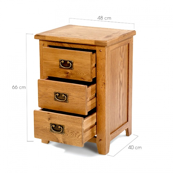 Tủ đầu giường Rustic 3 ngăn gỗ sồi - IBIE