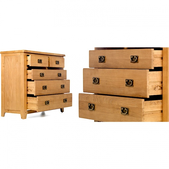 Tủ 5 ngăn kéo ngang Rustic gỗ sồi - IBIE