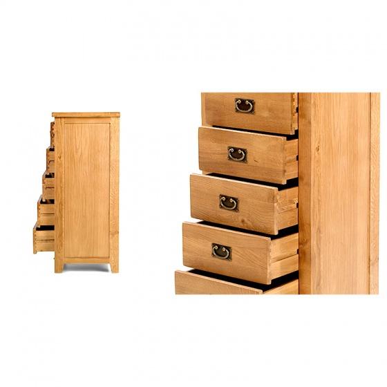 Tủ 5 ngăn kéo đứng Rustic gỗ sồi - IBIE
