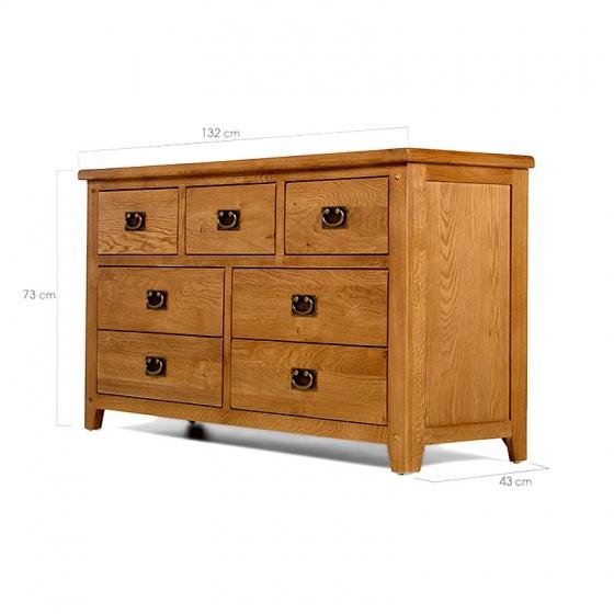 Tủ 7 ngăn kéo ngang Rustic gỗ sồi - IBIE
