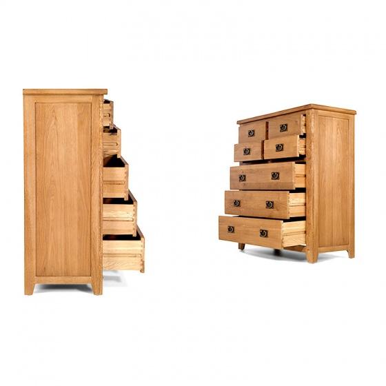 Tủ 7 ngăn kéo đứng Rustic gỗ sồi - IBIE