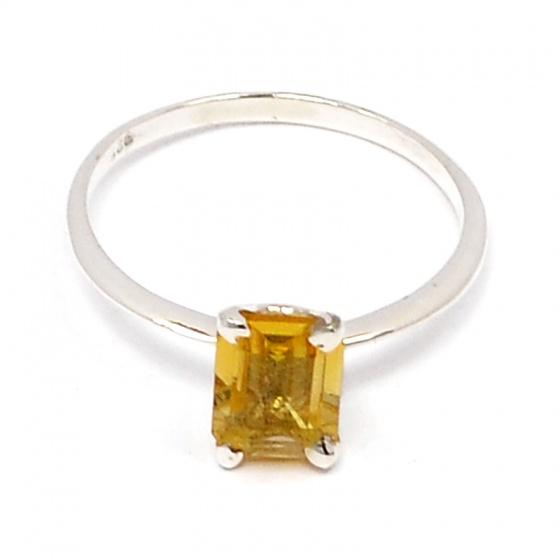 Nhẫn thạch anh vàng cao cấp bạc 925 Hadosa size 6