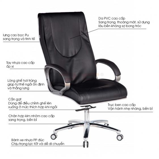 Ghế Giám đốc IB001 2 cần chân hợp kim nhôm cao cấp màu đen