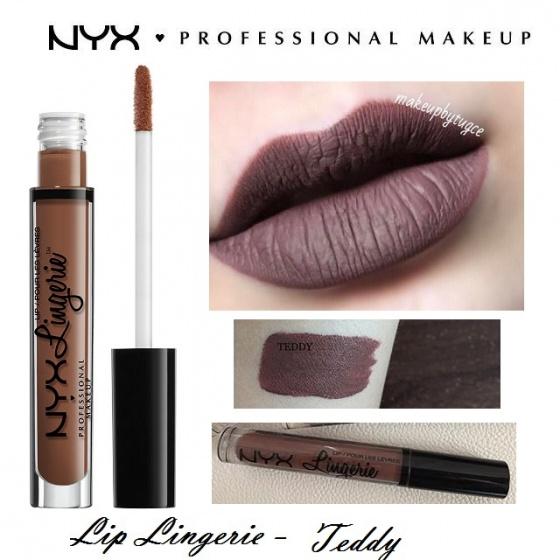 Son kem lì NYX lingerie liquid matte lipstick LIPLI10 Teddy