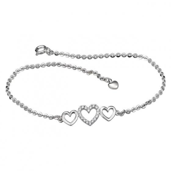 Lắc chân bạc đính đá PNJSilver hình trái tim XM00K000021