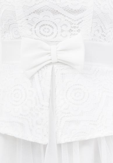 Đầm xòe Amun voan lưới phối ren cổ tròn tay ngắn màu trắng DX144-TRANG