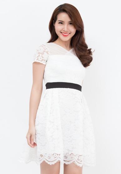 Đầm xòe Amun ren hoa trắng eo viền đen DX106-trắng