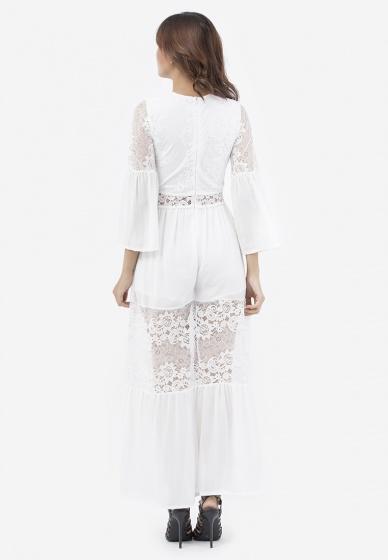 Đầm maxi Amun voan phối ren màu trắng DMA135-TRANG