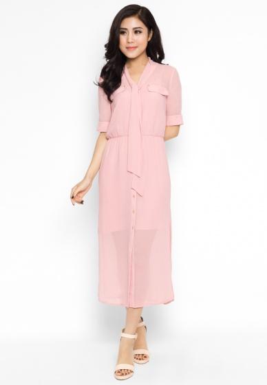 Váy voan xẻ tà hồng - Mimi