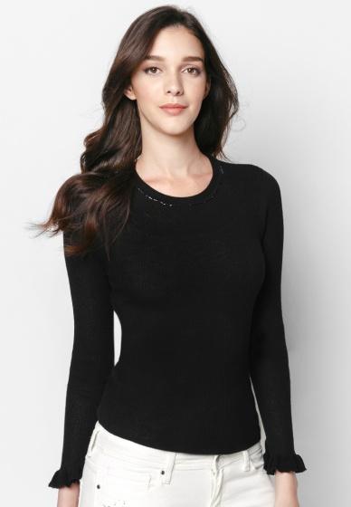 Áo len đen ánh kim tay bèo - Mimi