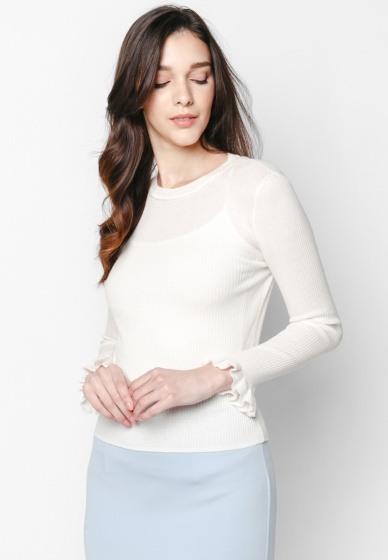 Áo len trắng ánh kim tay bèo - Mimi