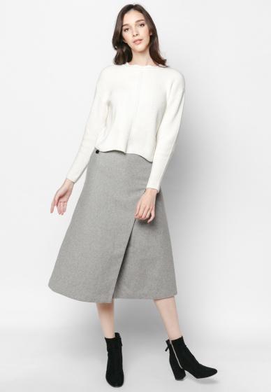 Áo len dày trắng dáng lửng - Mimi