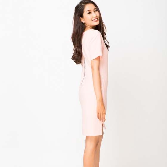 Đầm suông vạt bầu Hity DRE009 (hồng champagne)