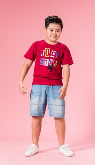 UN05 - áo thun bé trai (đỏ)