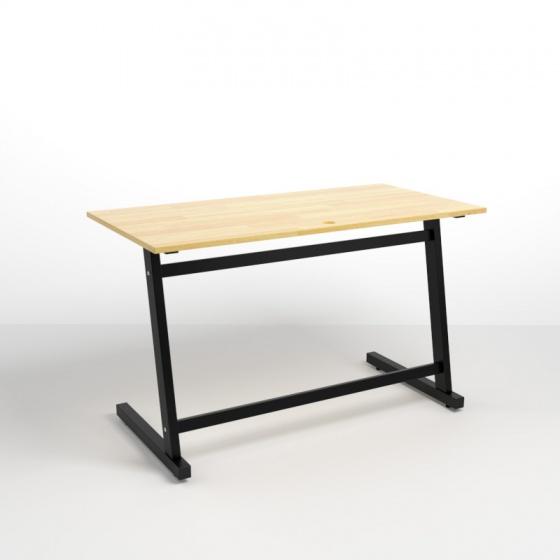 Bộ bàn Rec-Z đen gỗ cao su và ghế IB505 có tay đen