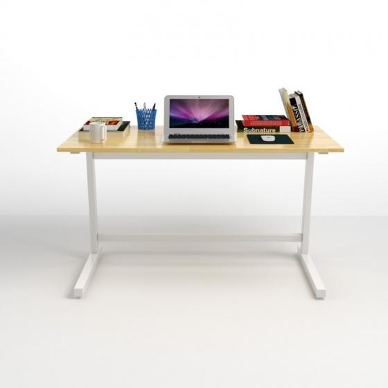 Bộ bàn Rec-Z trắng gỗ cao su và ghế IB505 có tay đen