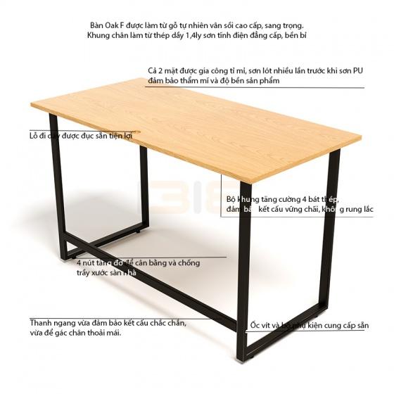 Bộ bàn Oak-F đen và ghế IB505 có tay đen