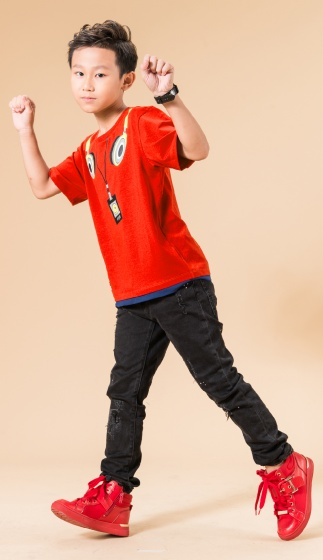 UN04 - Áo thun bé trai (đỏ cam)