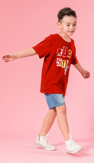 UN05 - Áo thun bé trai (đỏ cam)
