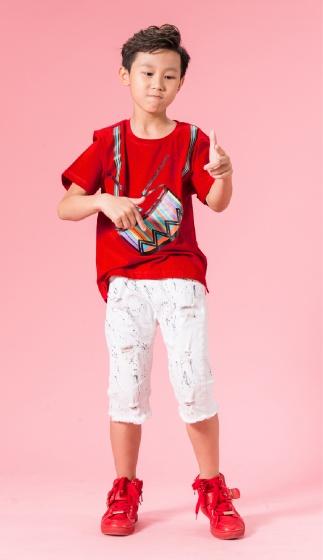 UN08 - áo thun bé trai (đỏ cam)