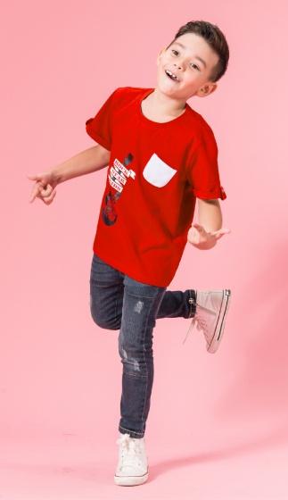 UN09 - Áo thun bé trai (đỏ cam)