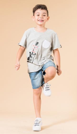 UN09 - Áo thun bé trai(xám)